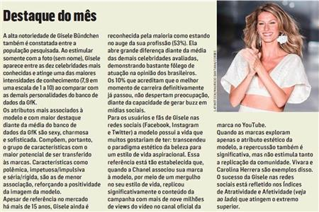 Gisele Bundchen é a celebridade brasileira com maior apelo popular