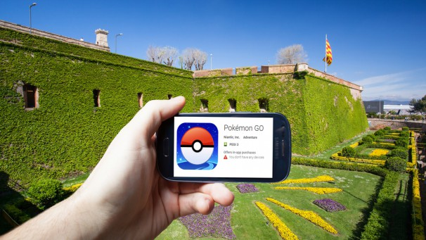Barcelona, Spain - July 24: An Android user prepares to install Pokemon Go, a free-to-play augmented reality mobile game developed by Niantic for iOS and Android devices.