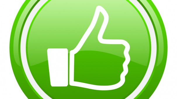 thumb up green glossy icon on white background