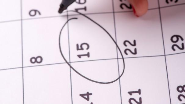 Close-up photo of calendar with a datum